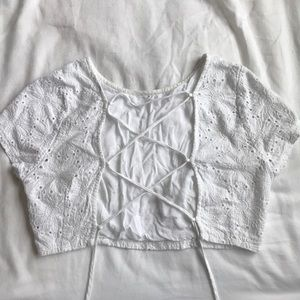 White Flower Embroidered Crop Top
